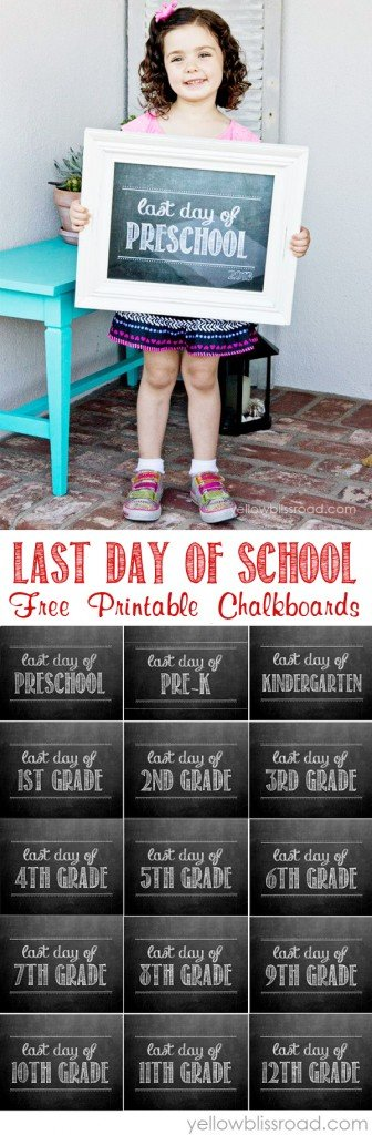 picture relating to Last Day of 2nd Grade Printable named Totally free Printable Previous Working day of Faculty Chalkboards