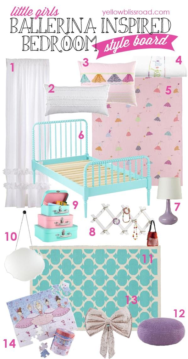 Little Girl's Ballerina Bedroom Inspiration: Tons of links to fabulous inspiration for your little ballerina! #pmedia #nodca