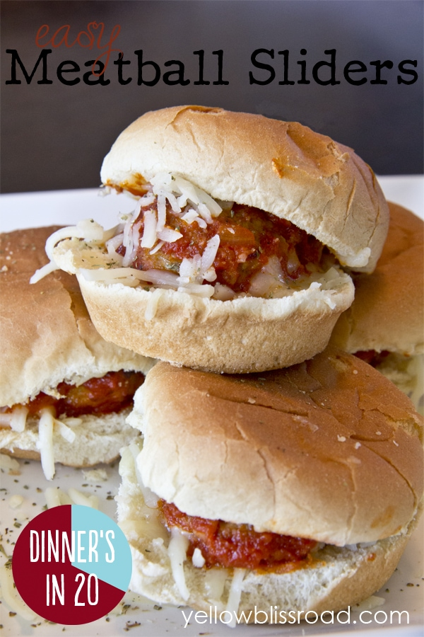 Easy Meatball Sliders - a quick and delicious weeknight meal, or the perfect party appetizer for your summer party! #dinnersin20