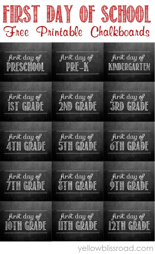 first Day of School signs Free Printables for every grade