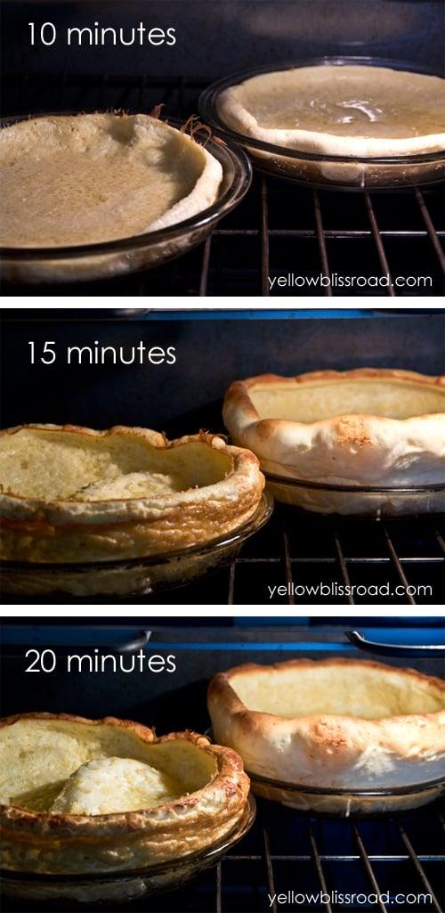 Collage of baking an oven pancake