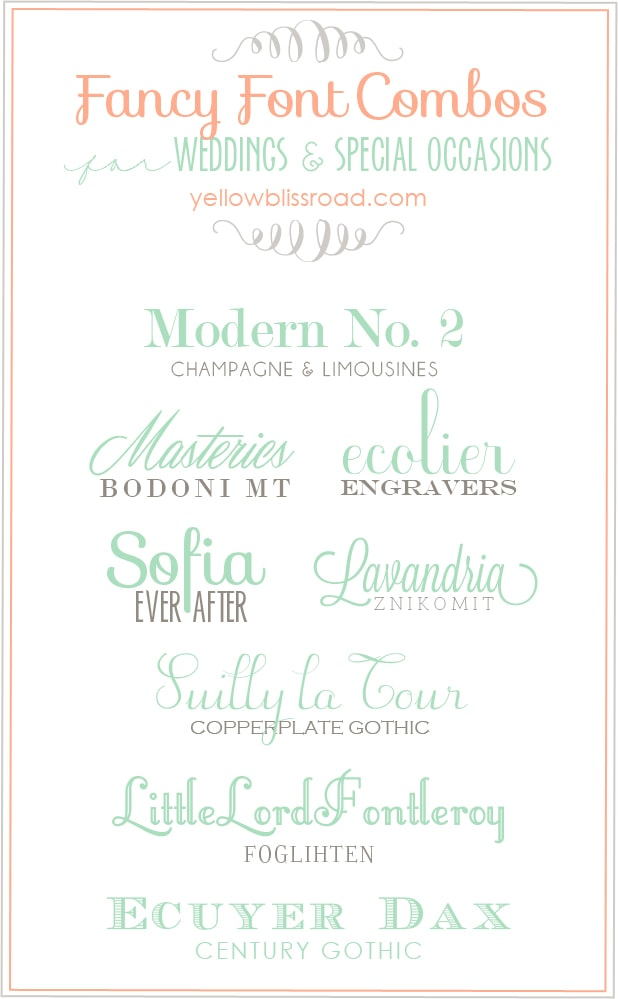 font combos for weddings and special occasions