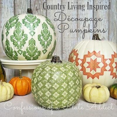 Social media image of Decoupage Pumpkins