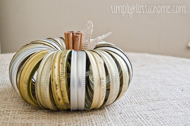A canning ring pumpkin on a table