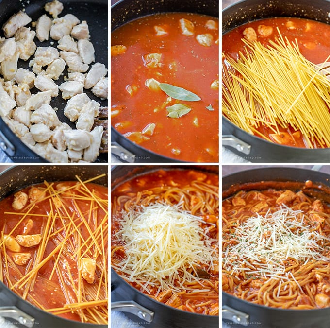 6 photo collage depicting how to make one pot chicken spaghetti.