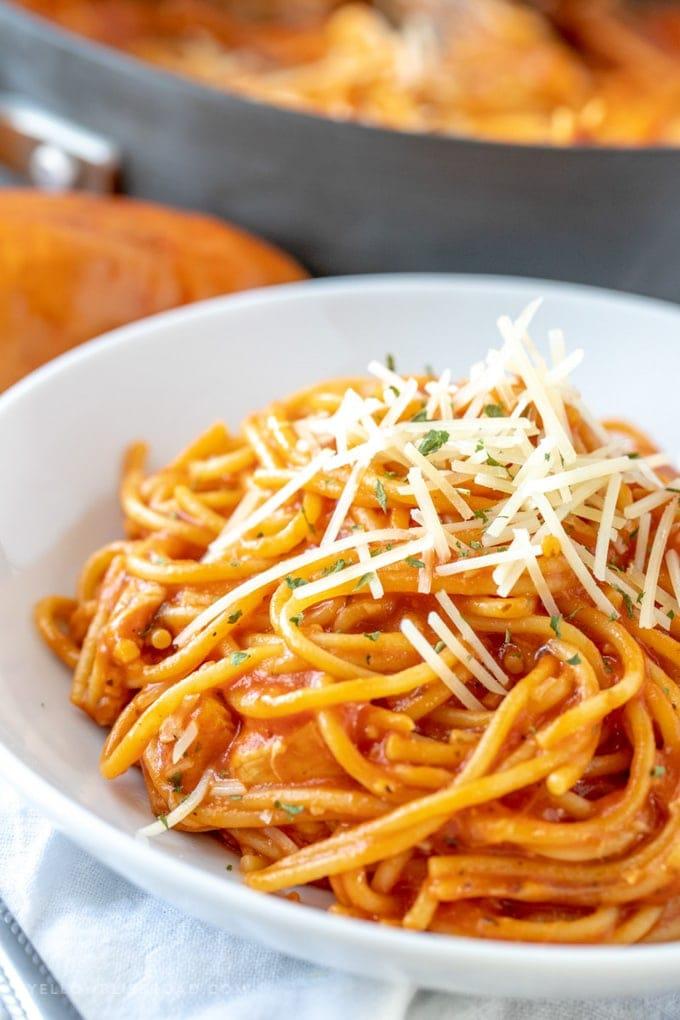 A plate of cheesy chicken spaghetti