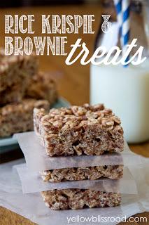 Social media image of Rice Krispie and Brownie Treats