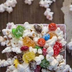 A close up of popcorn and candy