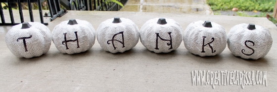Pumpkins spelling out THANKS