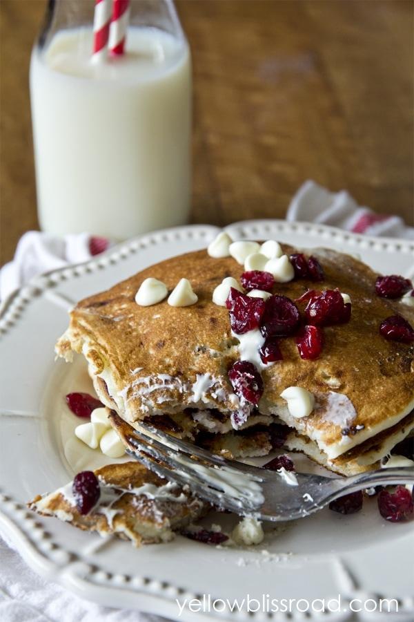 White Chocolate Cranberry Pancakes