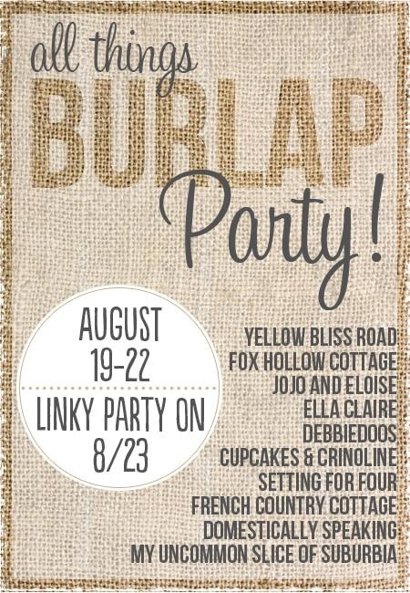 Burlap party sign