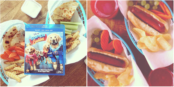 Movie and food on a table