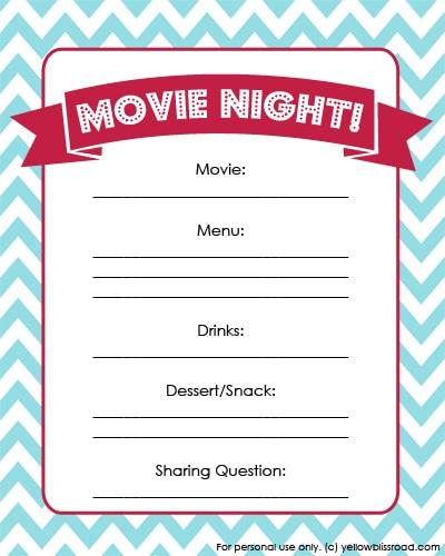 Movie Night Printable