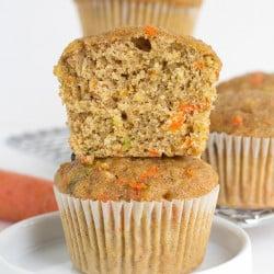 Close up of Zucchini Carrot Oatmeal Muffins