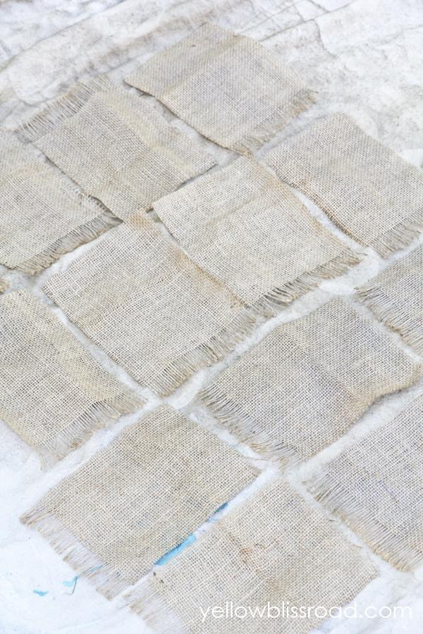 Close up of burlap squares