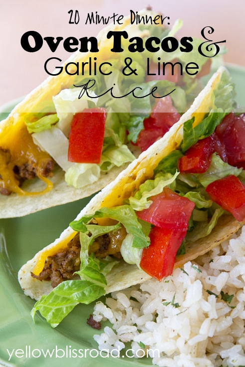 Social media image of Oven Tacos and Garlic & Lime Rice
