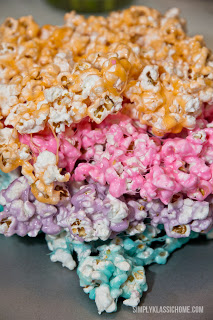A close up of colored popcorn