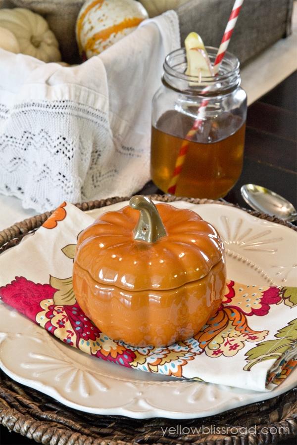 Pumpkin decor on a table