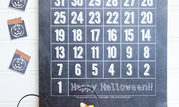 Free Printable Chalkboard Halloween Countdown