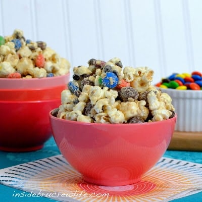 A bowl of Monster Cookie Dough Popcorn
