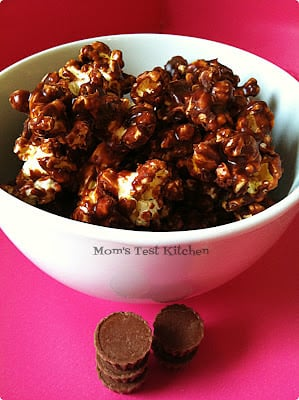 A bowl of chocolate peanut butter popcorn