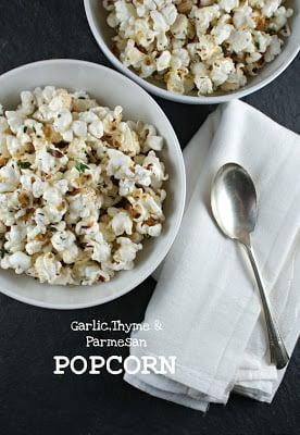 Social media image of Garlic, Thyme & Parmesan Popcorn