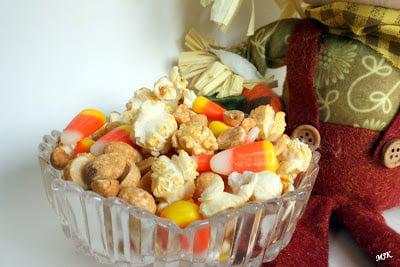 A dish of candy corn popcorn