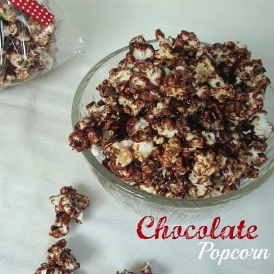Social media image of chocolate popcorn