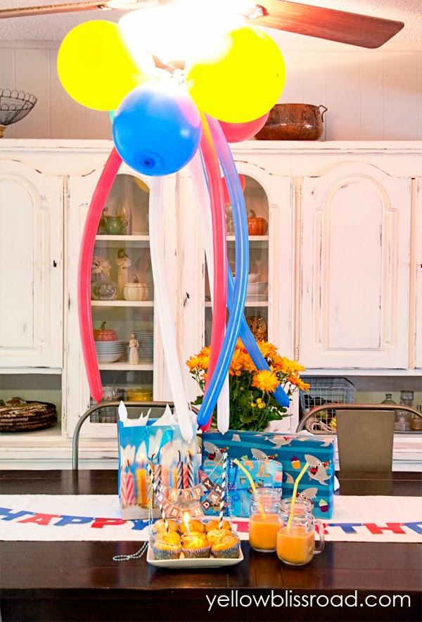 Birthday decorations in a kitchen