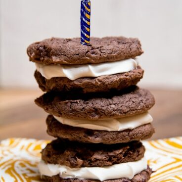 Stack of cookies on a table
