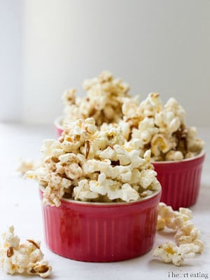 Red bowls filled with popcorn