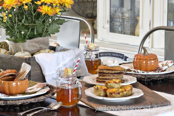 Autumn decor with breakfast foods on a table