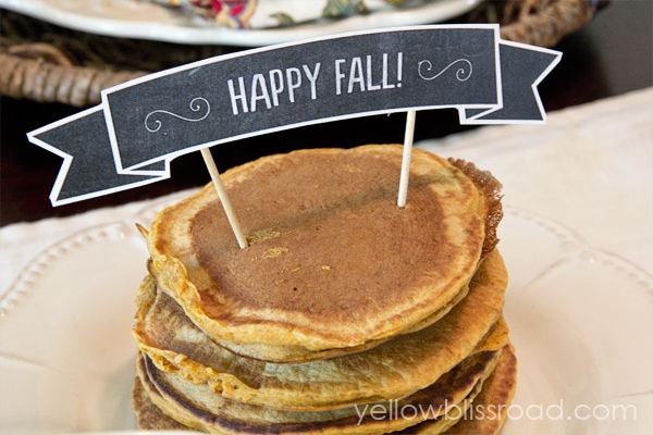 Happy Fall sign on pancakes