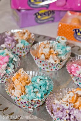 Peeps popcorn in containers