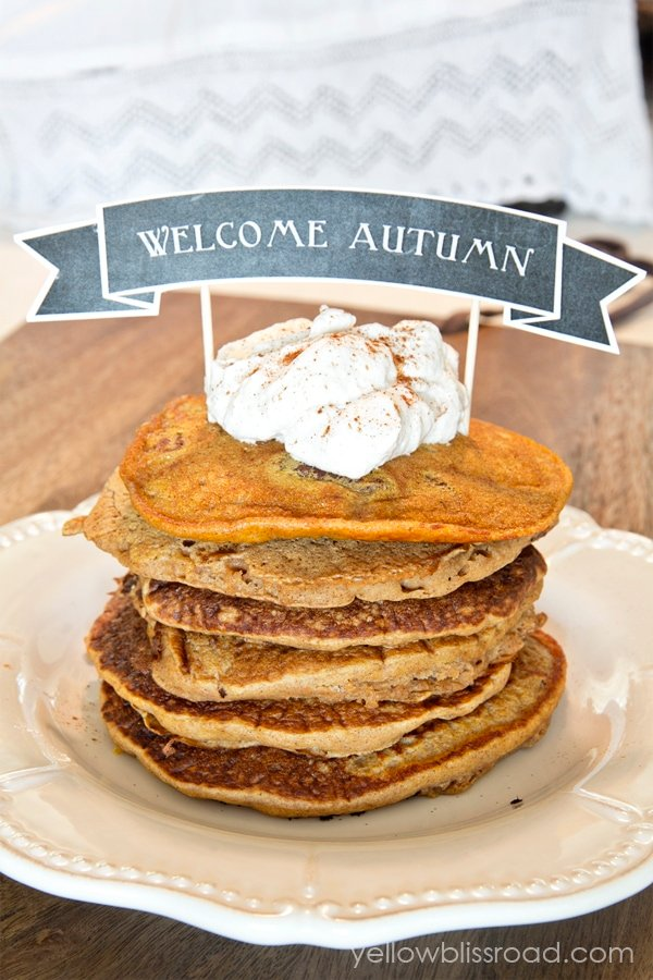 Pancakes with sign that says Welcome Autumn