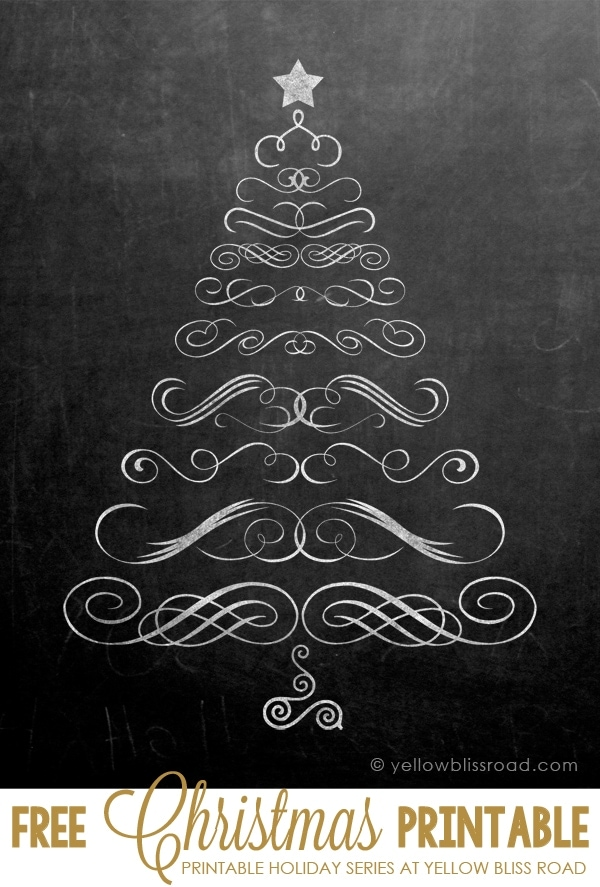 Chalkboard Swirly Tree image