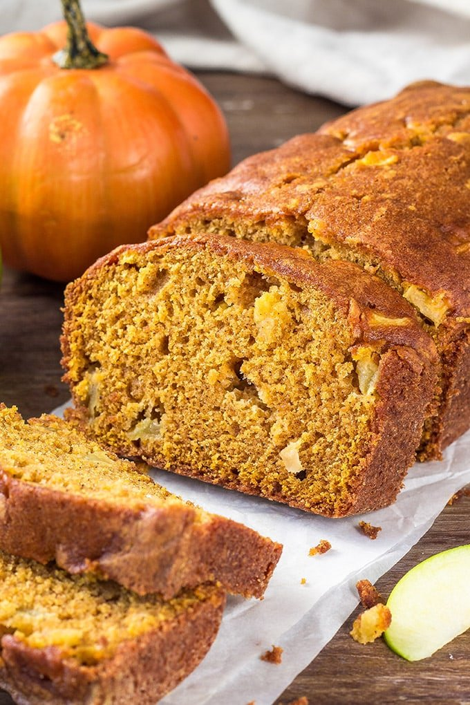 A loaf of Pumpkin Bread with apples.