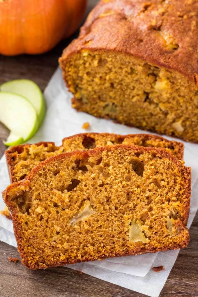 Two slices of Pumpkin Apple Bread.