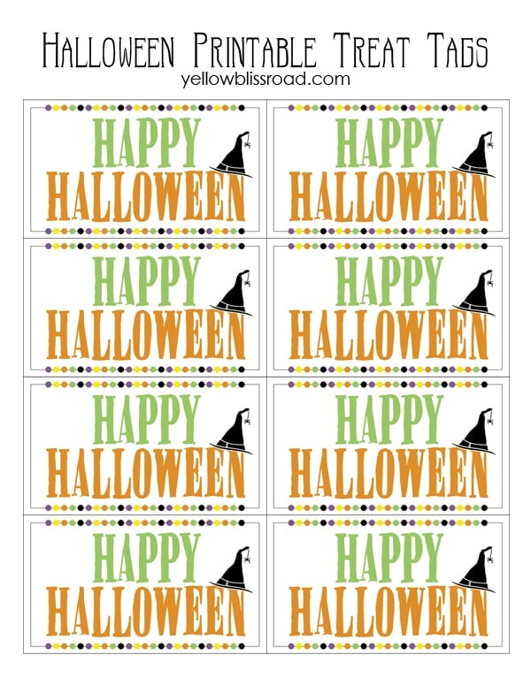 photo about Free Halloween Printable referred to as Halloween Deal with Tags - Cost-free Printable - Yellow Bliss Street