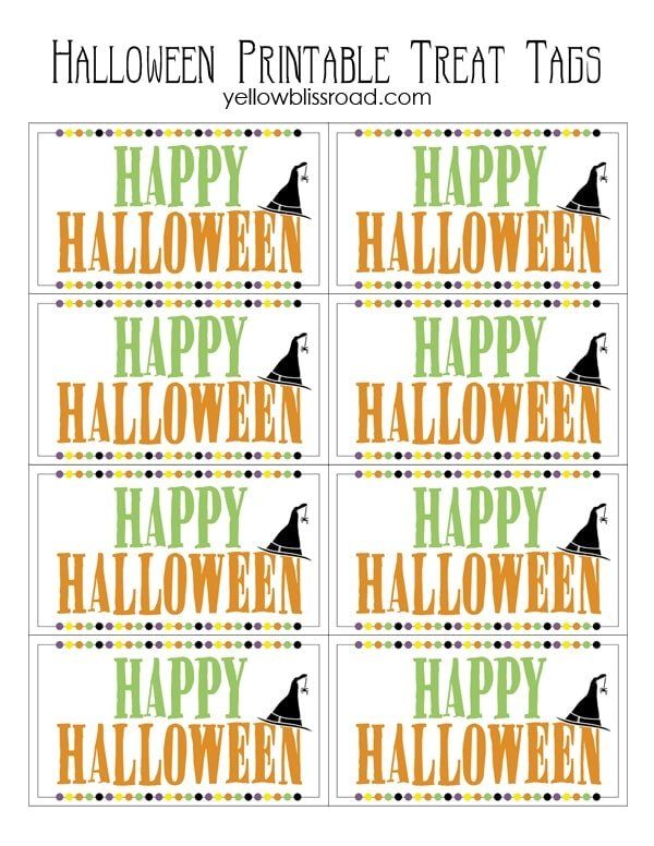 goodie bag tag template - halloween treat tags free printable yellow bliss road