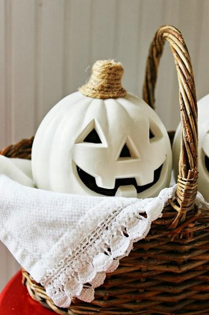 A white carved pumpkin
