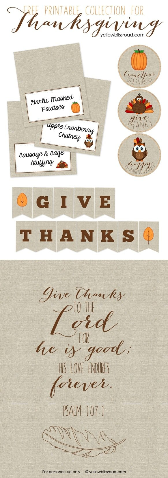 Free Printable Thanksgiving Collection