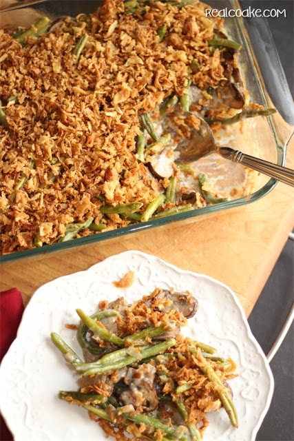 A delicious whole food recipe for Green Bean Casserole from #RealCoake #Recipe
