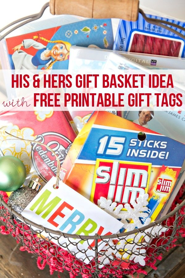 His and Hers Gift Basket Idea with Free Printable Gift Tags #cbias #easygifts #shop