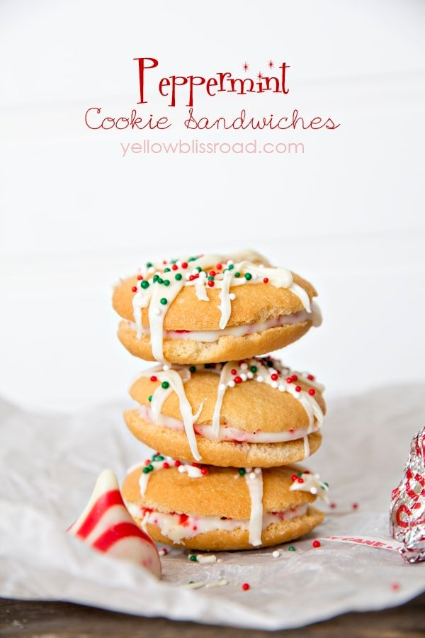 Peppermint Cookie Sandwiches