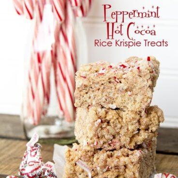 Social media image of Peppermint Hot Cocoa Rice Krispie Treats