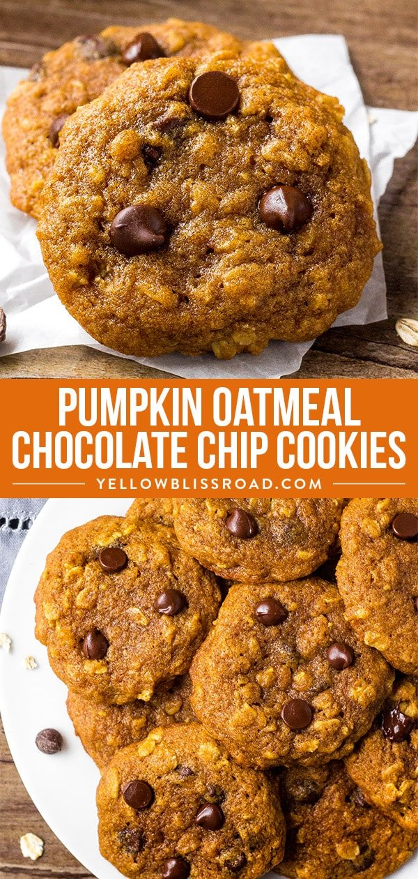 Oatmeal Pumpkin Chocolate Chip Cookies collage.