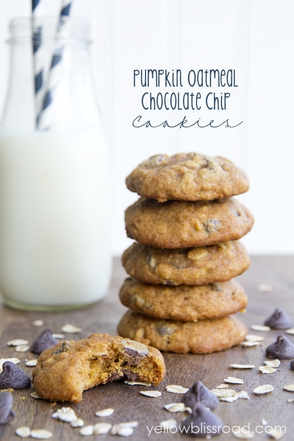 Whole Wheat Pumpkin Oatmeal Chocolate Chip Cookies