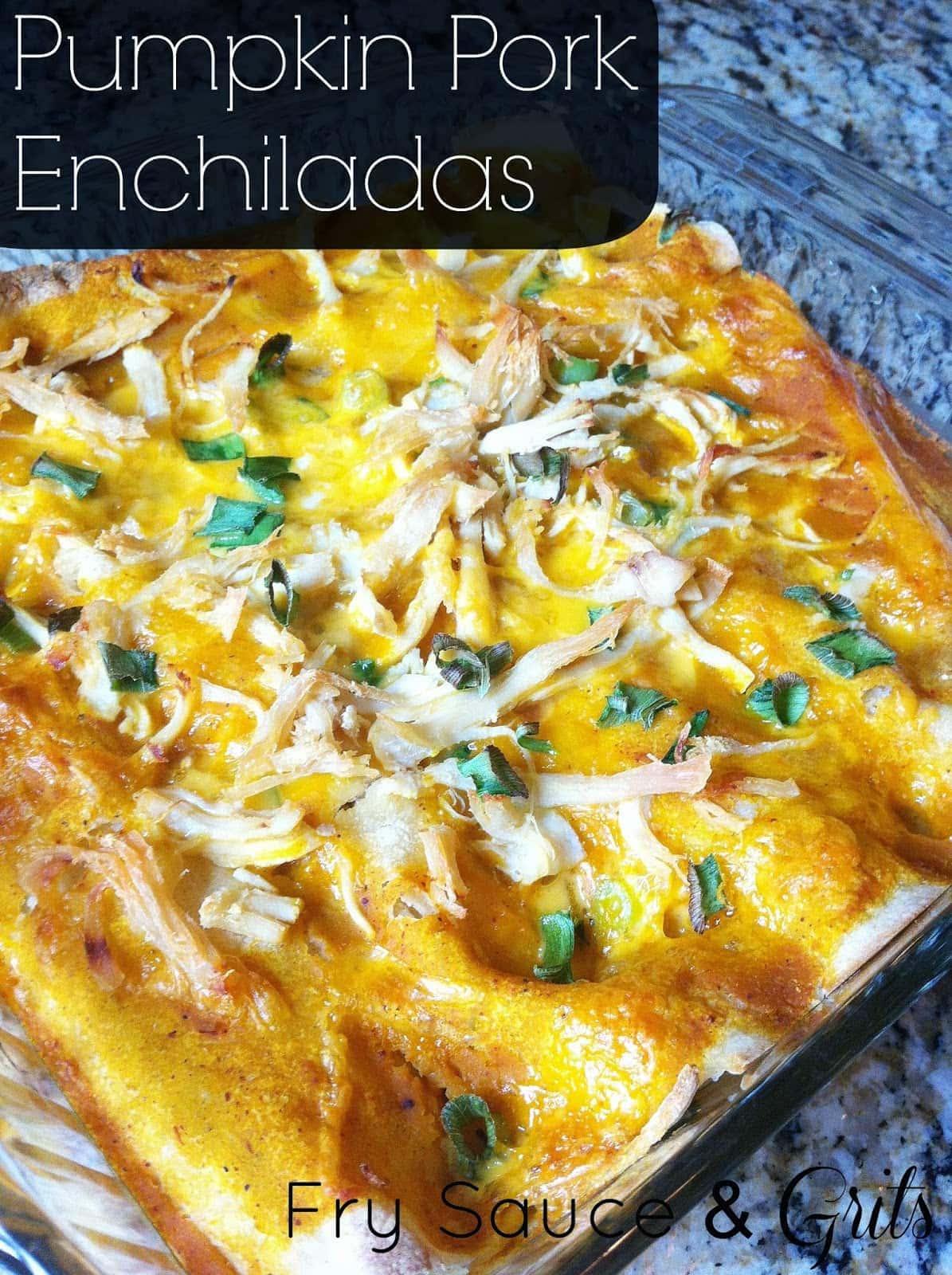 Pumpkin Pork Enchiladas from FrySauceandGrits.com