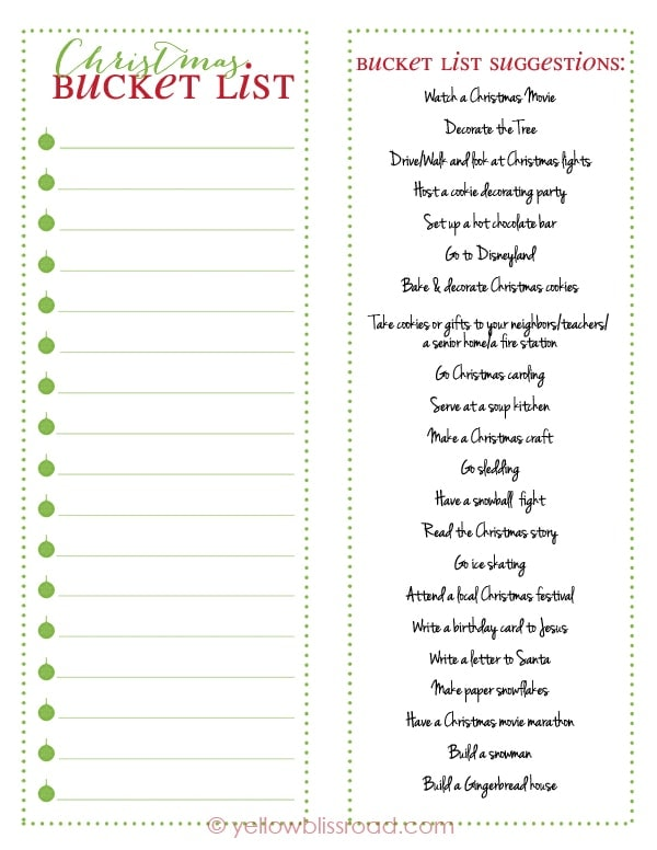 Christmas Bucket List Free Printable Yellow Bliss Road